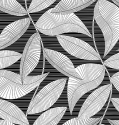 Black and white striped texture tropical seamless vector