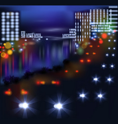 Blurred lights in city night vector