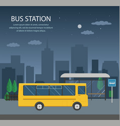 Bus at the bus stop on background of city vector