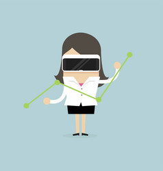 businesswoman watch the graph with virtual reality vector image