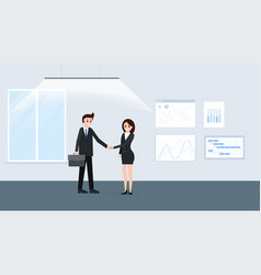 cartoon businesspeople at meeting room poster vector image