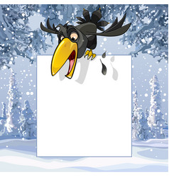 Cartoon crow over a blank sheet in a winter snowy vector