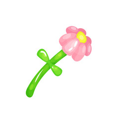 Cartoon flower made of colorful glossy balloons vector