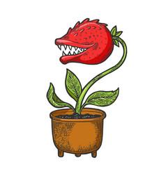 Cartoon flower with teeth sketch vector