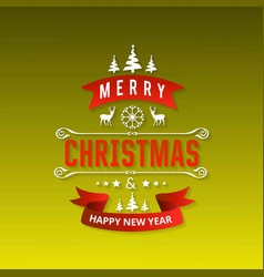 christmas greetings card with green background vector image