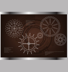 Cogwheels on a brown vector