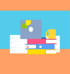 collection of office stuff vector image