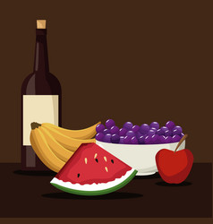 Color brown scene with wine bottle and set fruits vector