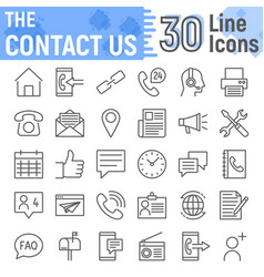 Contact us line icon set web symbols collection vector