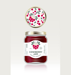 cowberry jam label packaging can lid pattern vector image