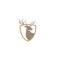 Creative deer golden shield logo design symbol vector