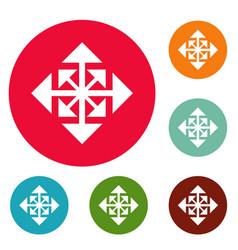Cursor displacement arrow icons circle set vector