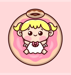 Cute blonde little angel with big donut vector