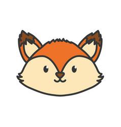 Cute fox head on white background vector