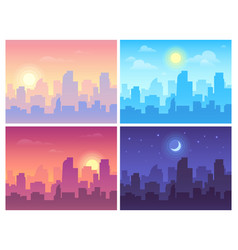 daytime cityscape morning day and night city vector image