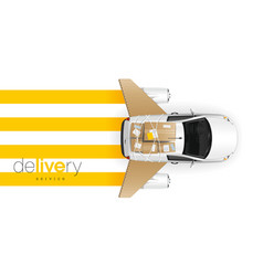 delivery car with cardboard wings horizontal vector image