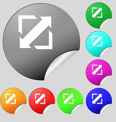 Deploying video screen size icon sign Set of eight vector