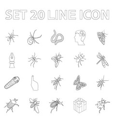 different kinds of insects outline icons in set vector image