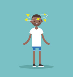 Dizziness conceptual young black man with stars vector