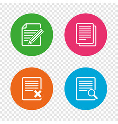 document icons search delete and edit file vector image
