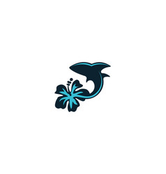 dolphin and flower logo designs inspiration vector image