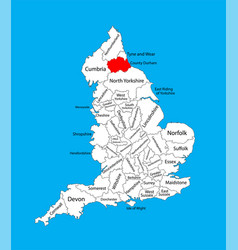 Durham county map county durham in north england vector