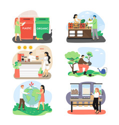 Ecologist male and female character set flat vector