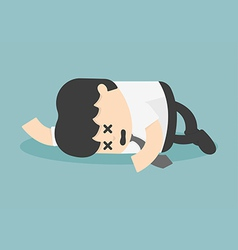 Exhausted and tired businessman sleeping vector