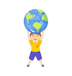 Flat boy lifting planet earth icon high vector