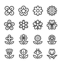 Flower line icon set vector
