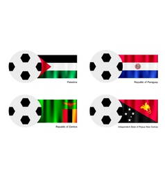Football with Palestine Paraguay Zambia Flag vector