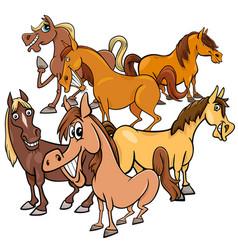 funny horses cartoon farm animals group vector image