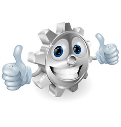 gear giving thumbs up cartoon character vector image