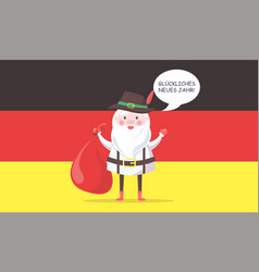 German santa claus in traditional clothes with bag vector