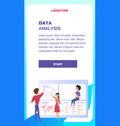 global data analysis grath mobile landing page vector image
