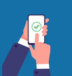 Green check mark on smartphone screen online vector