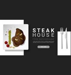 grilled beef rib eye steak and spices background vector image