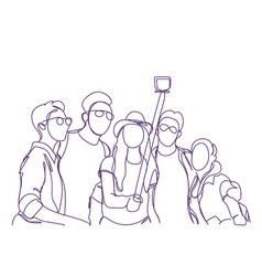 Group of people taking together selfie photo with vector