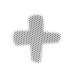 halftone dotted plus or cross sign isolated on vector image