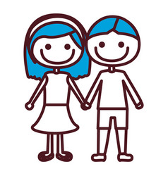 hand drawing silhouette caricature couple with vector image