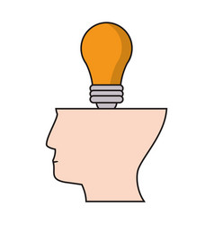 head human bulb idea creativity vector image