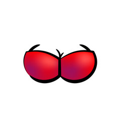 Icon of red bra on femaly breast vector
