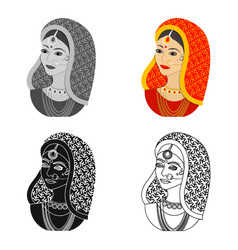 Indian woman icon in cartoon style isolated on vector