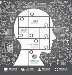 Infographic Head jigsaw with doodles line vector