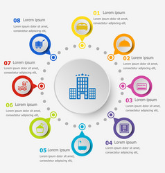 Infographic template with hotel icons vector