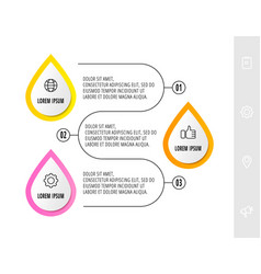 Infographic with 3 drops and icons concept vector