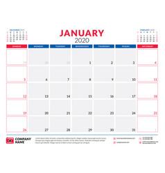 January 2020 calendar planner stationery design vector