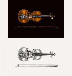 Jazz violin and bow in monochrome engraved vintage vector
