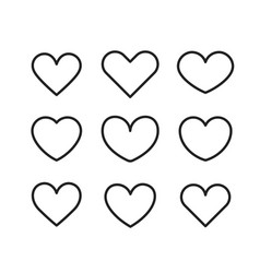 Linear heart icons set isolated on white vector