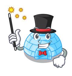 Magician cartoon ice house igloo on snowing day vector